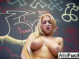 Schoolgirl Alix teases her big tits and wet pussy