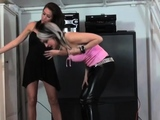 Glamour hotties fuck slaves face hole with feet and toys