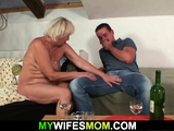 She finds her hairy blonde old mom and husband taboo sex