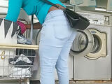 Laundromat Creep Shots 2 sluts with round asses and no bra