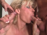 Hot old mature blonde sucks and rides at same time