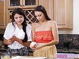Adria Rae seduces her stepmom in the kitchen while baking