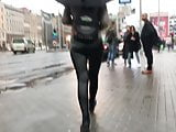 Latvian vacations - Hot ass in leather pants on rainy day