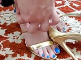 Gorgeous Feet Play. Love for her Blue toes.