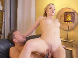 Sexy blonde hot fuck and footjob