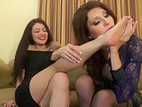 Phenomenal lesbian foot fetish session with two stunning dark haired MILFs