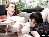 Gorgeous lesbian licks her bosses pussy