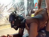 Cumin all over her gorgeous latex mask submissive slave in mask training