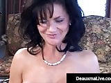 Busty Texas Cougar Deauxma Squirts With Fan Cock Up Her Ass!