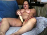 Solo busty mature masturbating with a big sex toy