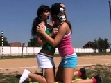 Brazil lesbian group Sporty teens tonguing each other