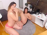 Two slutty lesbian babes flash their amazing goodies in their private foot fetish show