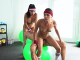 Fitness Rooms POV double blowjob with Latina Babe