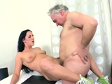 Enticing russian brunette chick gets fucked roughly