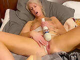 Gorgeous young MILF cums hard with big dildo in her tight pussy, DIRTY TALK