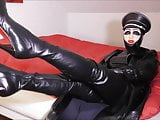 Rubber Mistress M show her Crotch Boots