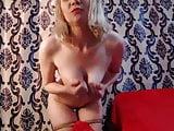 Sexy blonde masturbate and dancing in front of her webcam