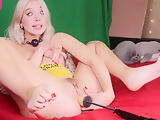 Horny Blonde Sister Getting Fucked By Machine